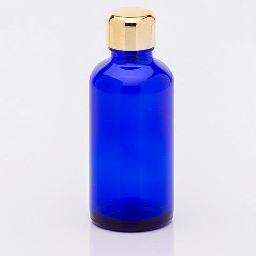 50 ml Blauglasflasche Schraubverschluss gold