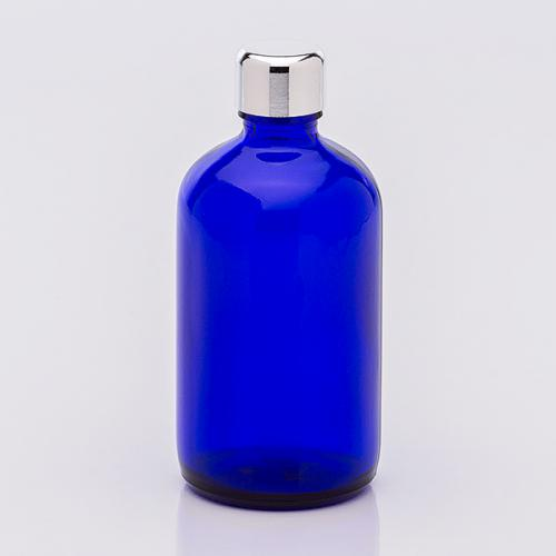 100 ml Blauglasflasche, Schraubverschluß silberf.