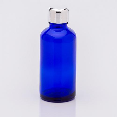 50 ml Blauglasflasche Schraubverschluß silberf.
