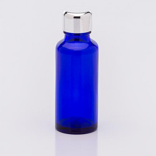 30 ml Blauglasflasche Schraubverschluß silberf.