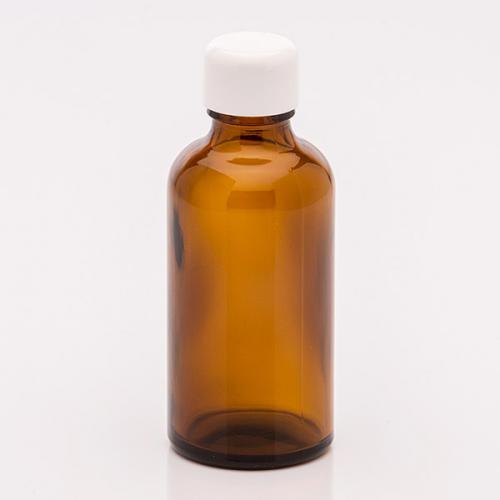 50 ml Braunglasflasche Schraubverschluss weiß
