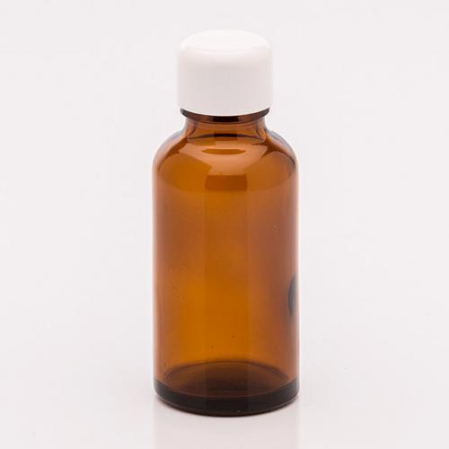 30 ml Braunglasflasche Schraubverschluss weiß