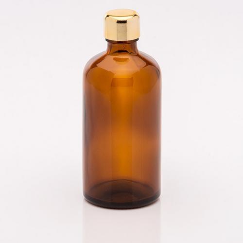 100 ml Braunglasflasche Schraubverschluss gold