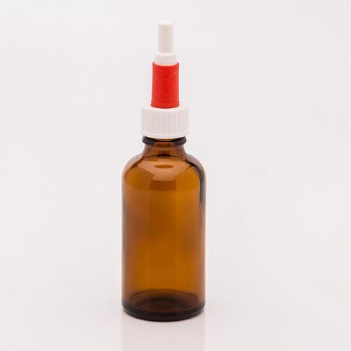 50 ml Braunglasflasche Schraubkappen-Pipette weiß/rot, Gummi