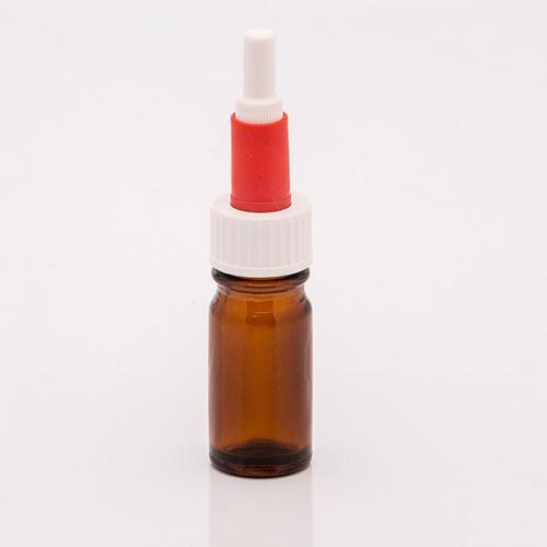 5 ml Braunglasflasche Schraubkappen-Pipette, weiß/rot, Gummi