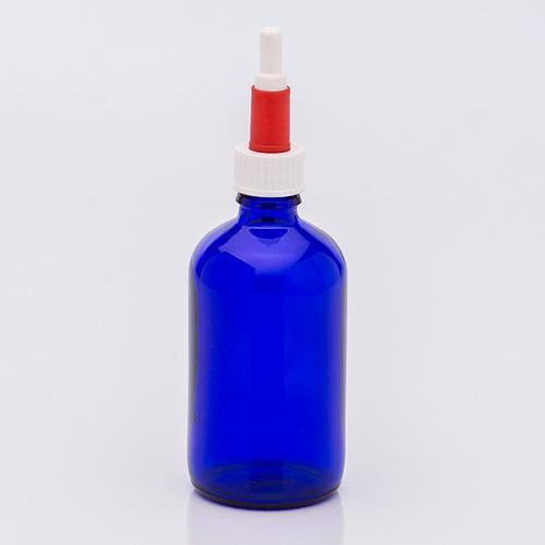 100 ml Blauglasflasche Schraubkappen-Pipette, weiß/rot, Gummi
