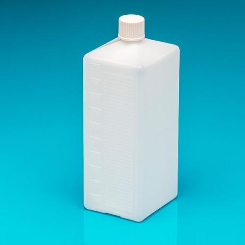 """1000 ml Flasche natur, PE, viereckig Scaleneint., Schraubvers. weiß, """"Pharma"""""""