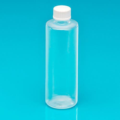 "100 ml Flasche natur, PP, DIN18, Schraubverschluß weiß, ""Pharma"""