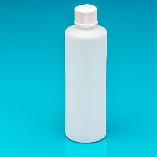 "250 ml Flasche natur, HDPE Schraubverschluß weiß,""Pharma"""