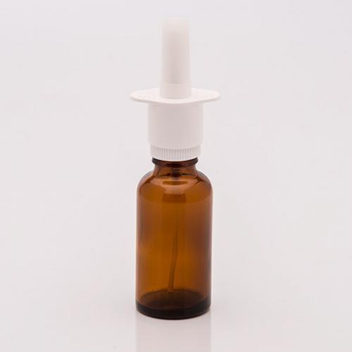 30 ml Braunglasflasche, DIN18 Nasenadapter weis, Steigr. ungek.