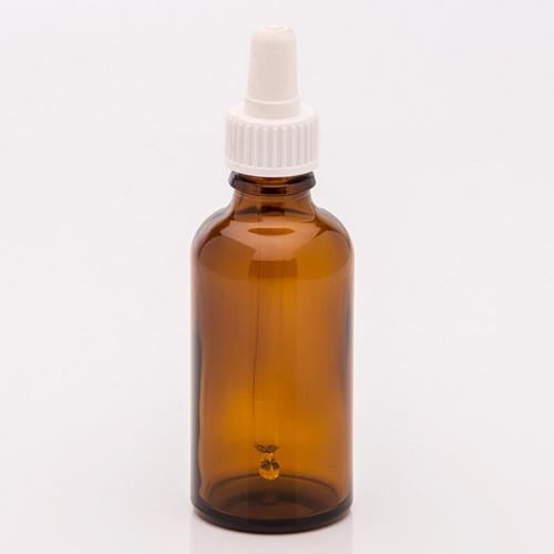 50 ml Braunglasflasche, DIN18 SV m. Sauger weiß, Glaspipette unmontiert