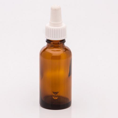 30 ml Braunglasflasche, DIN18 SV mit Sauger weiß,  Glaspipette unmontiert