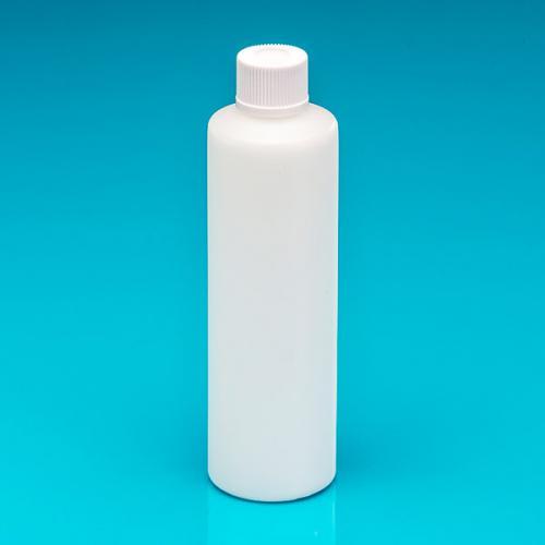 "250 ml Flasche natur dickwandiges PE Schraubverschluß weiß, ""Pharma"""
