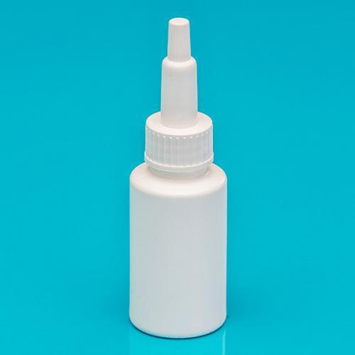 30 ml Flasche weiß PE SV mit Spitze, Schraubkappe