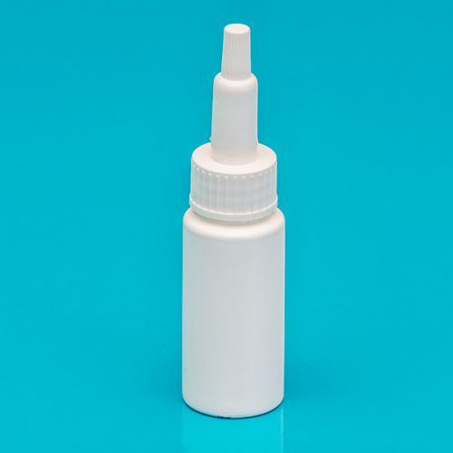 20 ml Flasche weiß, LDPE SV mit Spitze, Schraubkappe