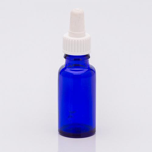 20 ml Blauglasflasche, DIN18, SV Sauger weiß, Glaspipette unmontiert
