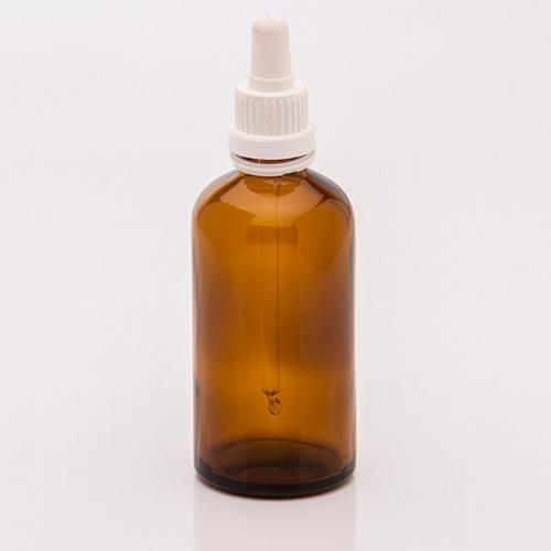 100 ml Braunglasflasche, DIN18, SV Sauger weiß, OV, Glaspipette unmontiert