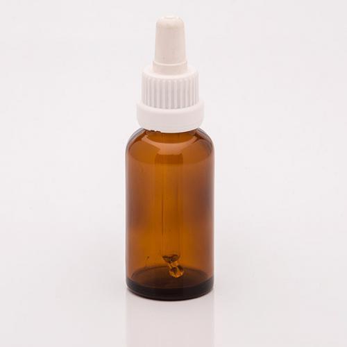30 ml Braunglasflasche, DIN18, SV mit Sauger weiß, OV, Glaspipette, unmontiert