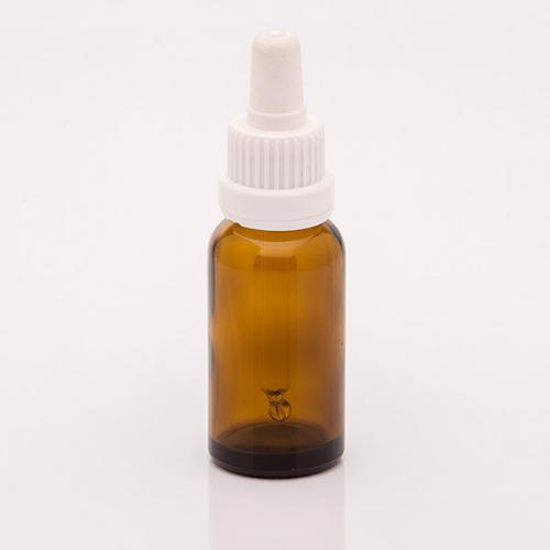 20 ml Braunglasflasche DIN18 SV mit Sauger weiß, OV, Glaspipette