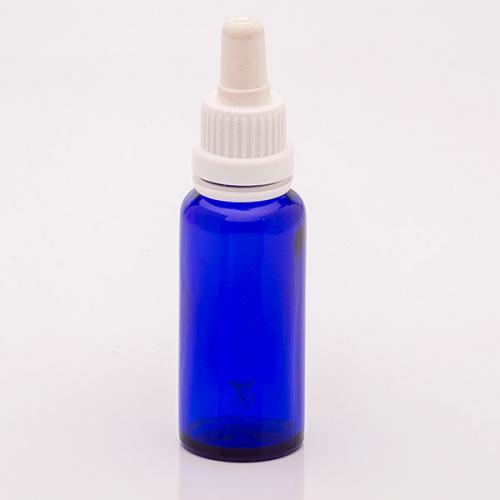 30 ml Blauglasflasche, DIN18 SV mit Sauger weiß, OV, Glaspipette
