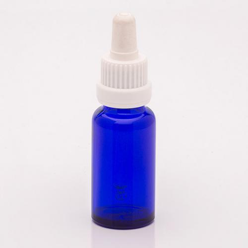 20 ml Blauglasflasche, DIN18 SV mit Sauger weiß, OV, Glaspipette