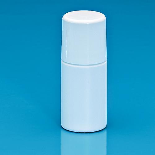 50 ml Roll On Flasche HDPE weiß, Kugelfitment PP Schraubkappe weiß glänzend PP