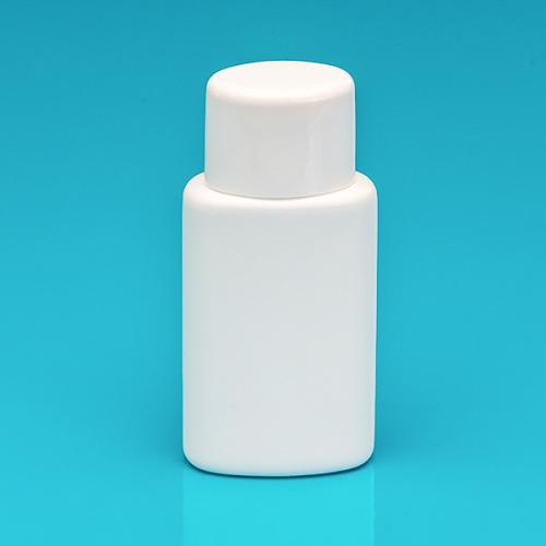 100 ml bottle white HDPE,  oval-lid white PP, spray-insert