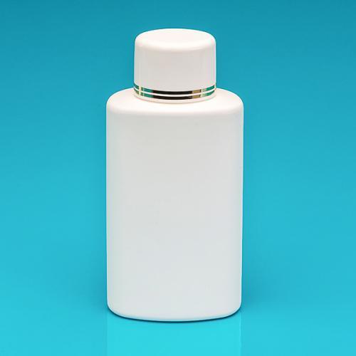 250 ml Flasche weiß, HDPE Schraubverschluss weiß/gold, Spritzeinsatz