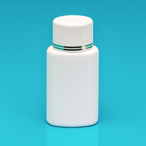 100 ml Flasche weiß, HDPE Schraubverschluss weiß/gold, Spritzeinsatz