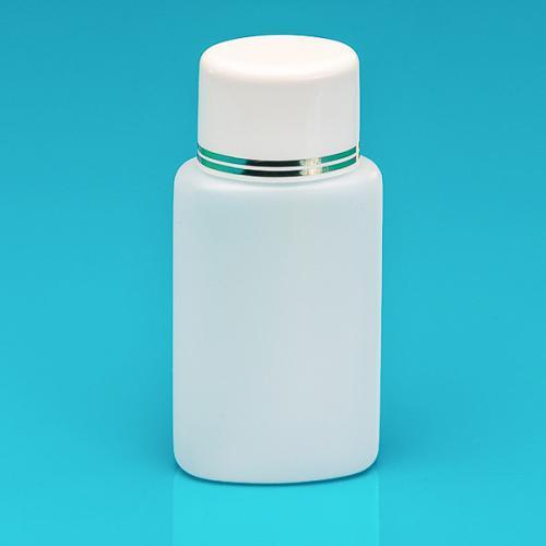100 ml Flasche natur, HDPE Schraubverschluss weiß/gold, Spritzeinsatz
