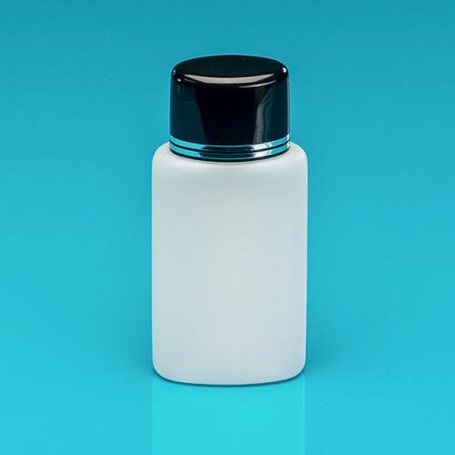 100 ml Flasche natur, HDPE Schraubverschluss schwarz/silber, Spritzeinsatz