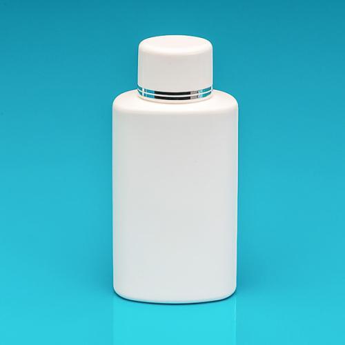 250 ml Flasche weiß, HDPE Schraubverschluss weiß/silber, Spritzeinsatz