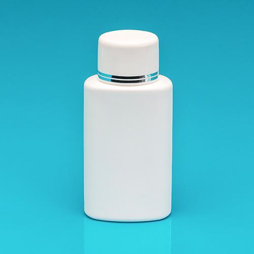 150 ml Flasche oval weiß, HDPE Schraubverschluss weiß/silber, Spritzeinsatz