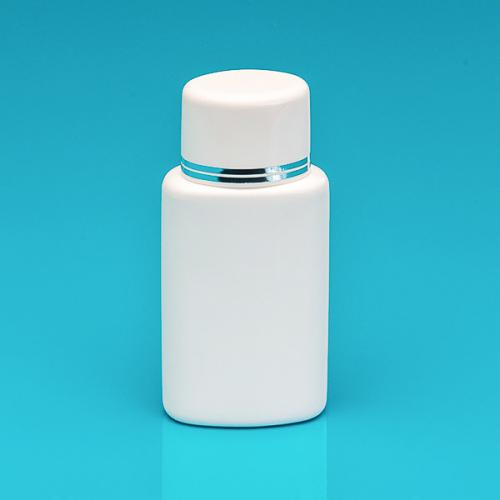 100 ml Flasche oval weiß, HDPE, SV weiß, PP weiß/Silberbänder incl.Spritzeinsatz