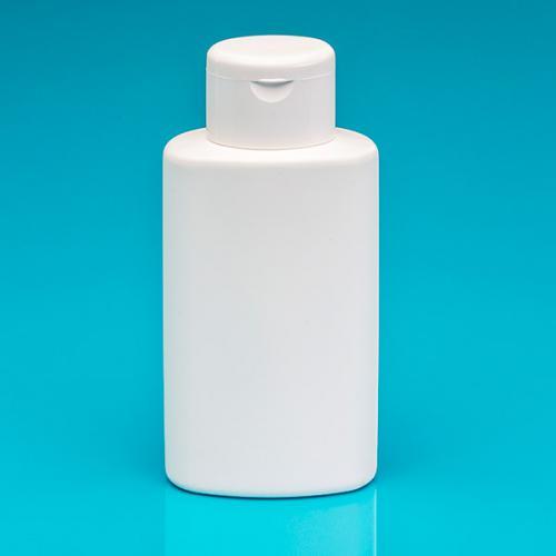 250 ml Flasche, oval, weiß, HDPE Klappscharnierverschluß weiß