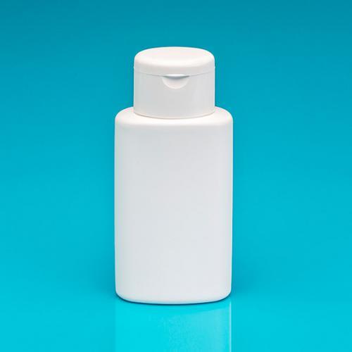 150 ml Flasche oval, weiß, HDPE Klappscharnierverschluss weiß