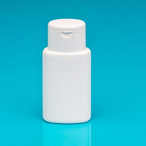 100 ml Flasche oval, weiß, HDPE Klappscharnierverschluß weiß
