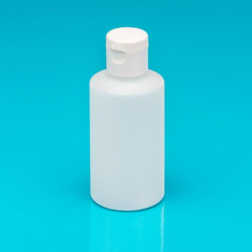 150 ml Flasche natur, HDPE , Klappscharnierverschluss weiß