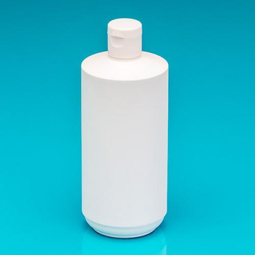 500 ml Flasche weiß, HDPE zylindrisch Klappscharnierverschl.weiß, Öffn. 4,5 mm