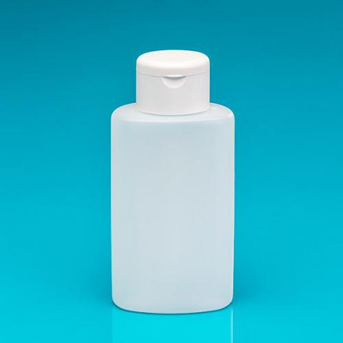 250 ml Flasche oval, natur, HDPE Klappscharnierverschluss weiß