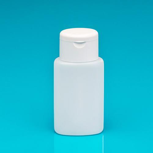 100 ml Flasche oval, natur,HDPE Klappscharnierverschluss weiß