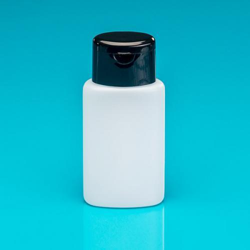 100 ml Flasche oval, natur, HDPE  Klappscharnierverschuß schwarz