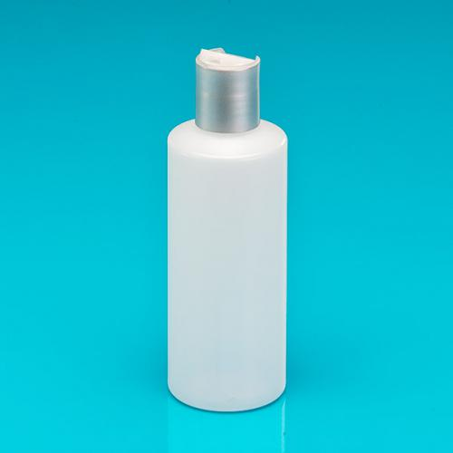 200 ml Flasche, natur, HDPE  Kippverschluß matt-silber