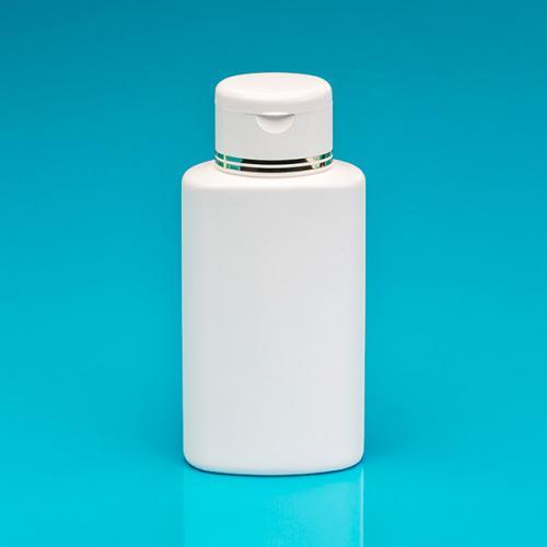 200 ml bottle white PE,  oval flip-lid white/gold PP