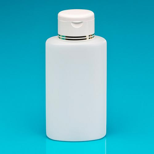 250 ml bottle nature PE,  oval flip-lid white/gold PP
