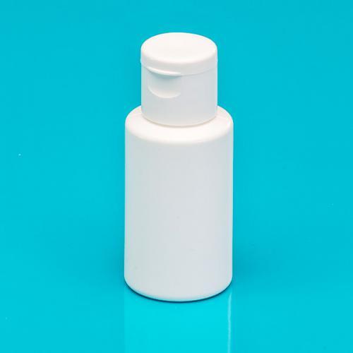 30 ml Flasche PE weiß, DIN 18, Klappscharnier-, Verschluß, weiß -nicht für wässrige Lösungen-