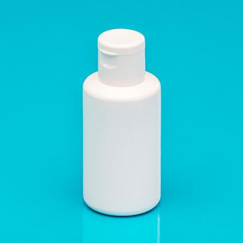 50 ml Flasche PE weiß, DIN 18, Klappscharnier-, Verschluß, weiß -nicht für wässrige Lösungen-