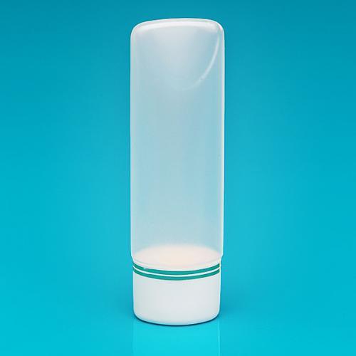 100 ml Tuben-Flasche natur, PE Schraub-VS weiß/Goldbänder, inkl. Spritzeinsatz