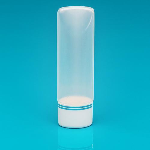100 ml Tuben-Flasche natur, PE Schraub-VS weiß/Silberbänder, inkl. Spritzeinsatz