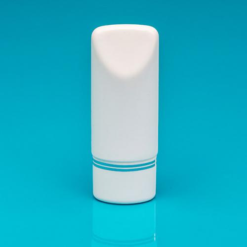 75 ml Tuben-Flasche weiß, PE Schraub-VS weiß/Silberbänder inkl. Spritzeins.
